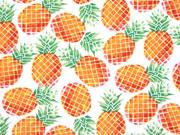 Baumwollstoff Ananas, weiss