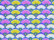 Baumwollstoff Fächer, blau rosa senf