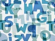 Jersey Buchstaben, blau mint creme
