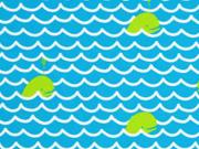 Badestoff Badeanzugstoff Wellen Fische, türkis
