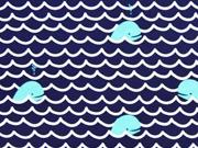 Badestoff Badeanzugstoff Wellen Fische dunkelblau