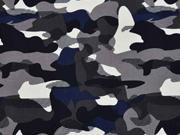 Badestoff Bikinistoff Camouflage, grau schwarz