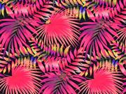 Badeanzugstoff Palmblätter, neonpink schwarz