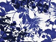 Viskose Blumen, jeansblau navy weiß