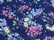 Baumwolle Blumensträuße, dunkelblau pink hellblau
