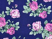 Baumwolle Popelin Rosen, pink rosa dunkelblau