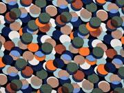 Viskose mittlere Kreise khaki kürbis indigoblau