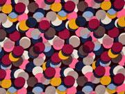 RESTSTÜCK 92 cm Viskose mittlere Kreise,weinrot rosa senf