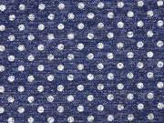Strick Punkte Glitzer, dunkelblau meliert