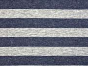 Strick Blockstreifen, dunkelblau grau meliert
