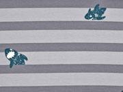 RESTSTÜCK 95 cm Sweat Haie Streifen, grau dunkelgrau