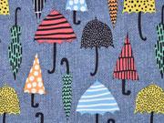 RESTSTÜCK 80 cm Softshell Jackenstoff Regenschirme Jeanslook blau