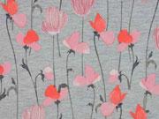 Softshell Jackenstoff Blumen, koralle grau melange