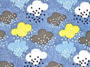 Softshell Jackenstoff Wolken Jeanslook blau