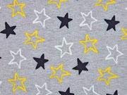 RESTSTÜCK 102 cm Softshell Jackenstoff Sterne, gelb grau