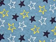 Softshell Jackenstoff Sterne, gelb rauchblau
