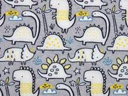 Softshell Jackenstoff Dinos, gelb grau
