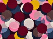 Jersey große Punkte, weinrot rosa dunkelblau senf