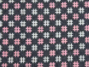 Wool Touch Rauten Hashtags, rosa anthrazit