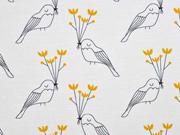 RESTSTÜCK 85 cm Bio-Jersey Vögel Blumen, hellgrau senf