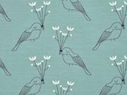 Bio-Jersey Vögel Blumen, dunkelmint weiß