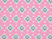 beschichteter Baumwollstoff Blumen, rosa