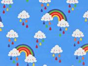 Regenmantelstoff Regenbogen Wolken, Himmelblau