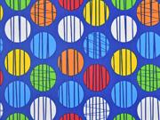 Regenmantelstoff gemusterter Kreise, bunt blau