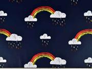 Regenmantelstoff Regenbogen Wolken, dunkelblau
