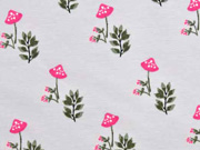 Jersey Blumen Pilze, hellgrau