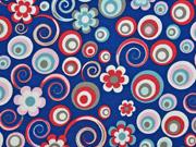 RESTSTÜCK 35 cm Jersey Kreise Blumen, dunkelblau