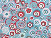 Jersey Kreise Blumen, rauchblau