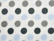 Wellnessfleece Punkte, hellblau grau weiß