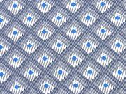 leichte Viskose Striche Rauten, blau ecrue