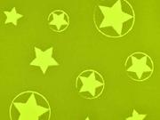 Softshell Jackenstoff Sterne, neongelb limette
