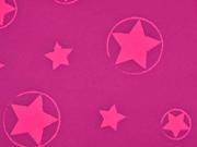 Softshell Jackenstoff Sterne, neonpink pink