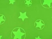 RESTSTÜCK 35 cm Softshell Stoff Jackenstoff Sterne, neongrün grün