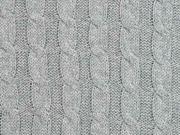 Strickstoff 100% Baumwolle Zopfmuster, grau melange