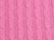 Strickstoff 100% Baumwolle Zopfmuster, rosa melange