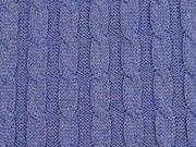 Strickstoff 100% Baumwolle Zopfmuster, jeansblau melange