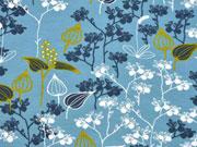 Jersey Blumen Finlayson, jeansblau