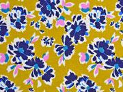 RESTSTÜCK 88 cm Jersey Blumen Finlayson, senfgelb