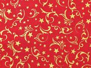 Baumwollstoff Ranken Sterne, gold rot