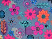 Canvas mit beschichteter Rückseite bunte Blumen, grau