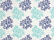 Waffelpiqué Frottee Stoff Korallen, dunkelblau aquamarin weiß