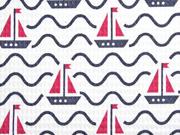 Waffelpiqué Frottee Stoff Wellen Segelboote, dunkelblau rot weiß