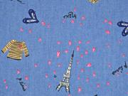 leichter Jeansstoff Herzchen Paris, jeansblau