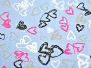 leichter Jeansstoff Herzen, hellblau