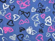 leichter Jeansstoff Herzen, dunkelblau