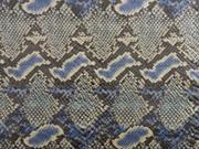 Wildlederimitat Schlangenmuster, blau beige taupe